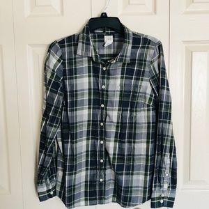 Jcrew Perfect Shirt Womens Striped Button Up Plaid